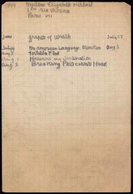 Elizabeth Herbart 1939 card