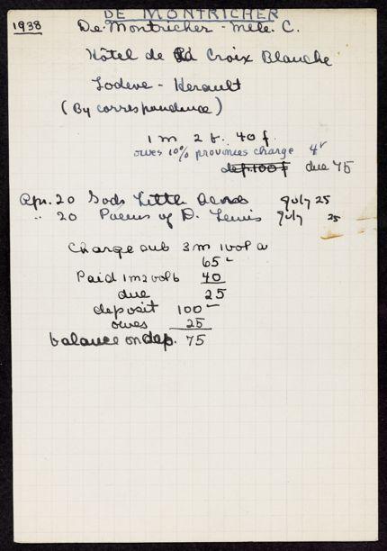 Cécile de Montricher 1938 card