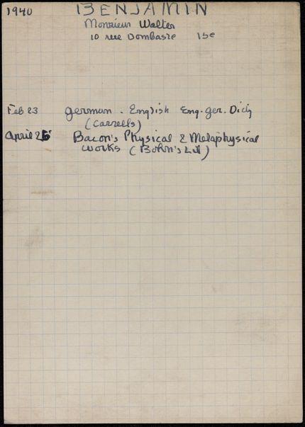Walter Benjamin 1940 card