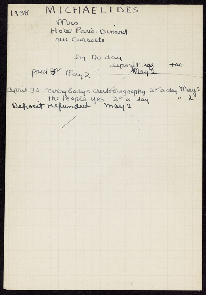 Mme L. Michaelides 1938 card (large view)