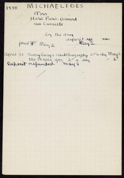 Mme L. Michaelides 1938 card