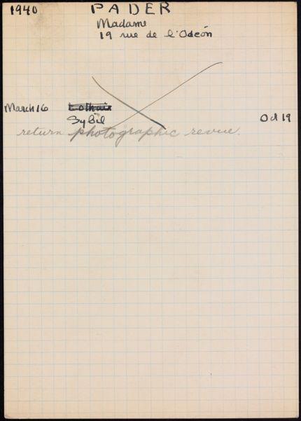 Mme Pader 1940 card