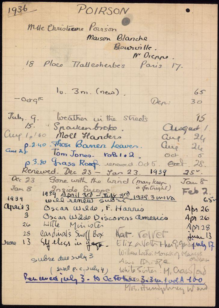 Christine Poirson 1936 – 1939 card (large view)