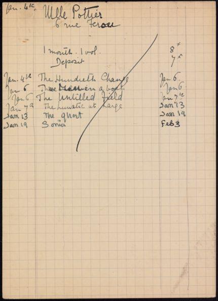 Mlle Pottier 1921 – 1922 card
