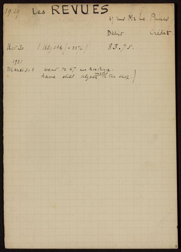 Les Revues 1929 – 1931 card (large view)