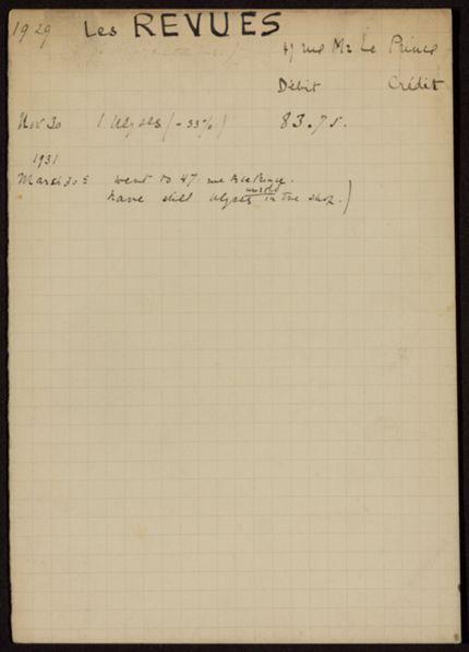 Les Revues 1929 – 1931 card