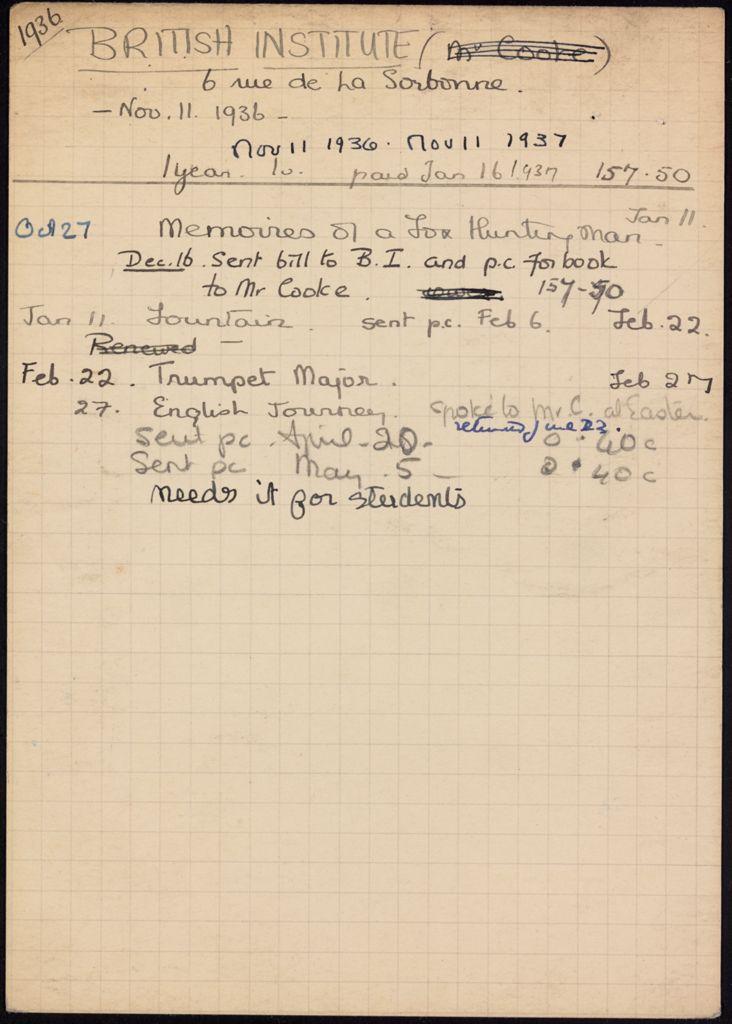 British Institute 1936 – 1937 card (large view)