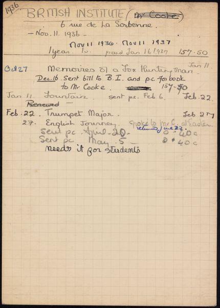 British Institute 1936 – 1937 card