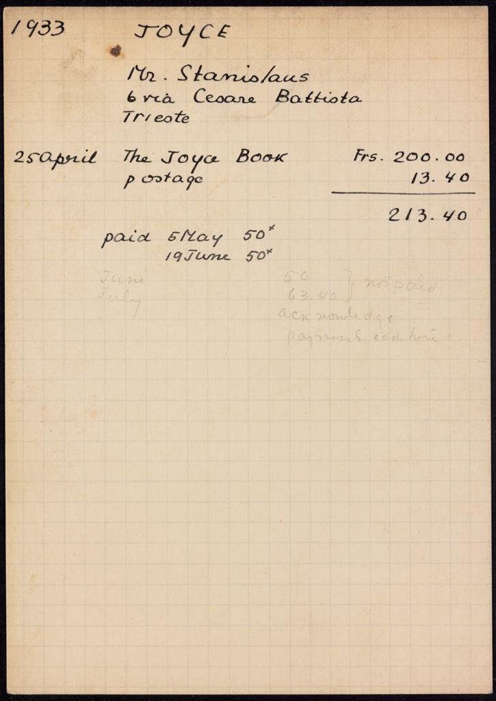 Stanislaus Joyce 1933 card (large view)