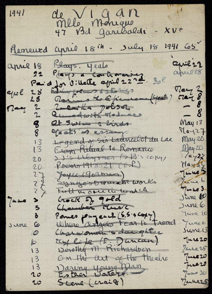 Monique de Vigan 1941 card (large view)