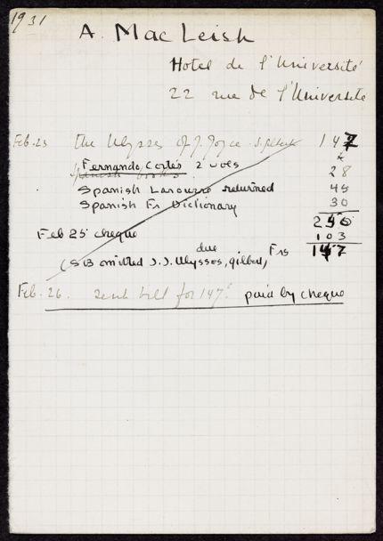 Archibald MacLeish 1931 card