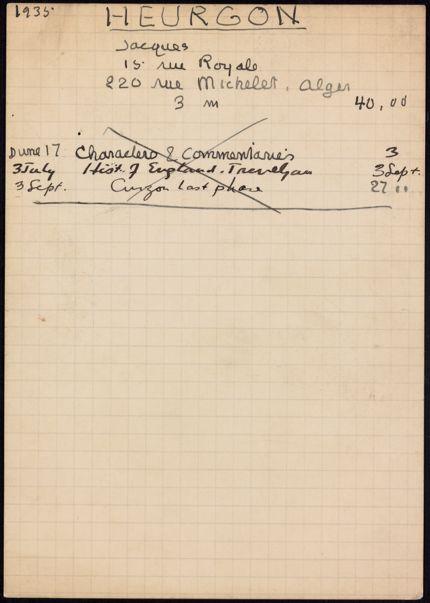 Jacques Heurgon 1935 card