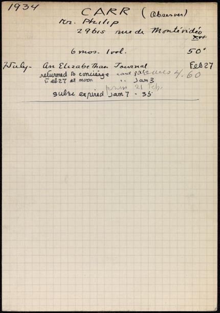 Philip Carr 1934 – 1935 card