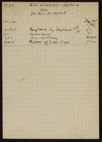 Miss Richards-Orpen 1935 card