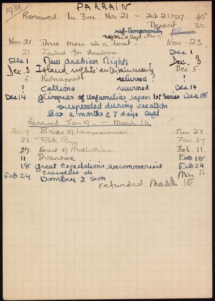 Rose Marie Parrain 1936 – 1937 card (large view)
