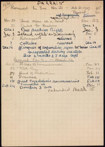 Rose Marie Parrain 1936 – 1937 card