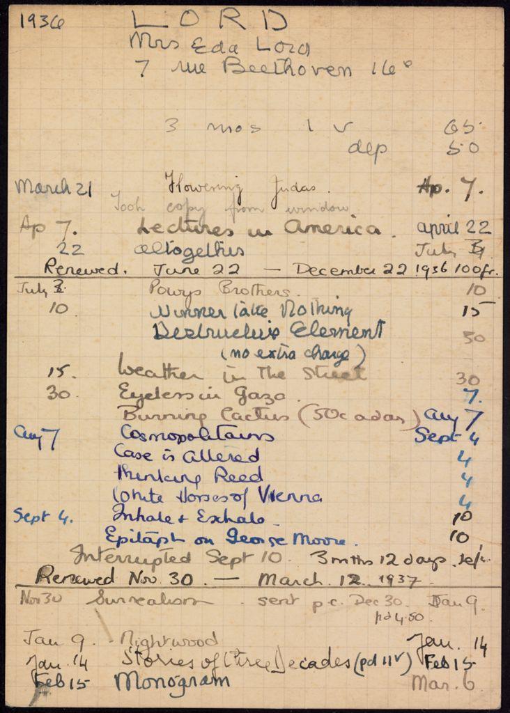 Eda Lord 1936 – 1937 card (large view)