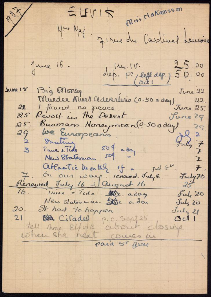 Mme Maj Elfvik 1937 card (large view)