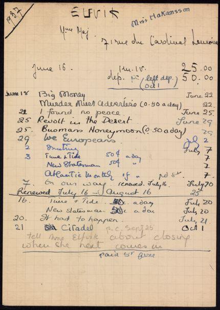 Mme Maj Elfvik 1937 card