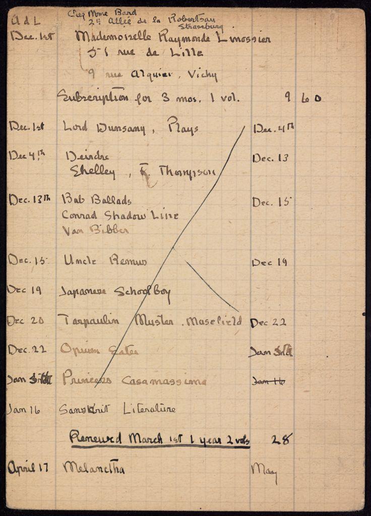 Raymonde Linossier 1919 – 1921 card (large view)