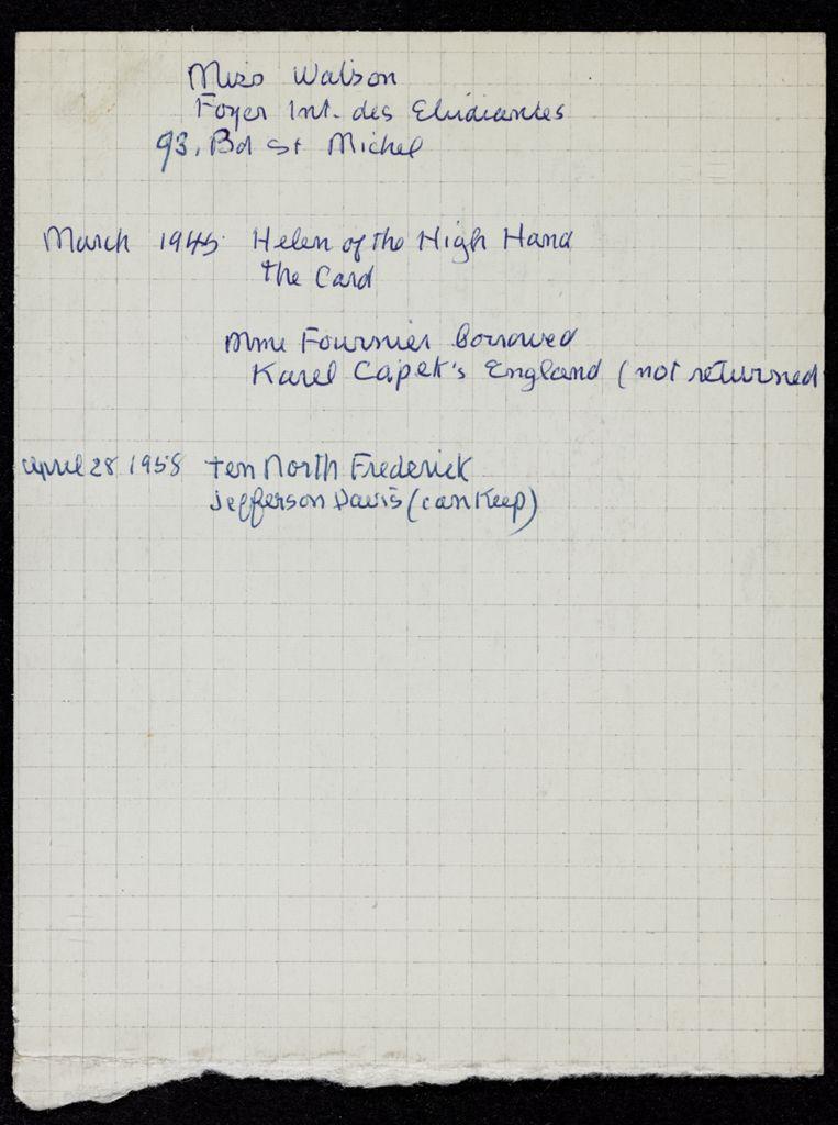 Sarah Pressly Watson 1945 – 1958 card (large view)