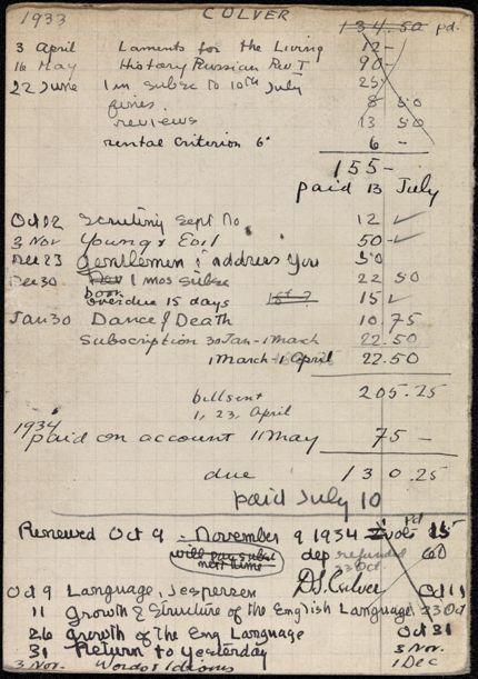 Donald Culver 1933 – 1934 card