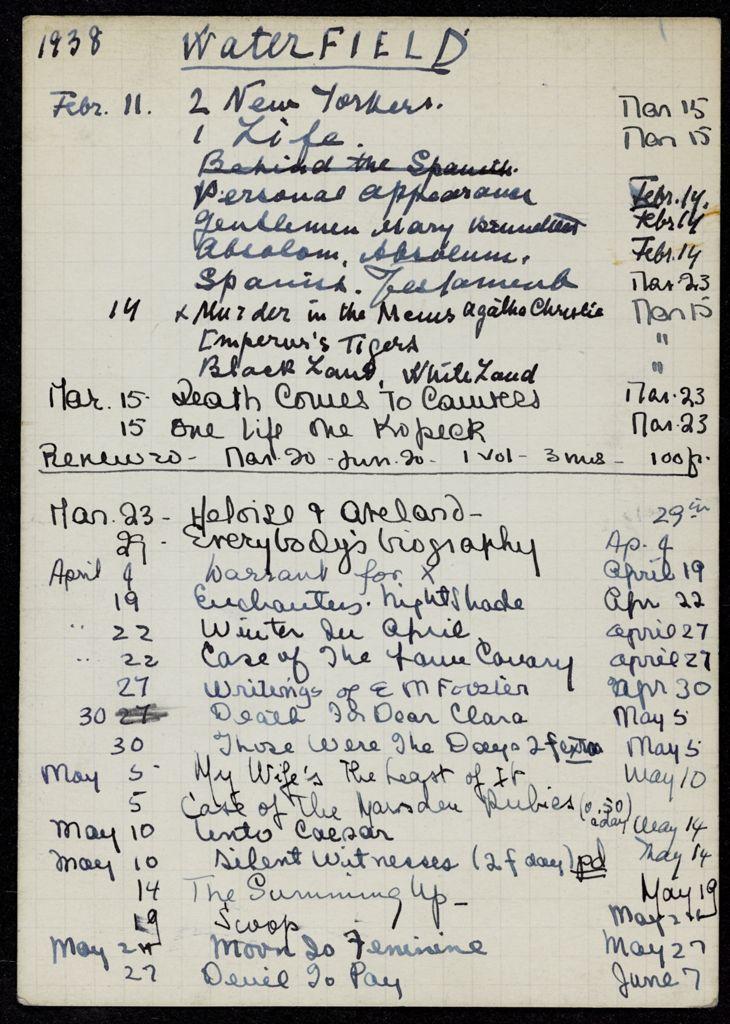 Gordon Waterfield 1938 card (large view)