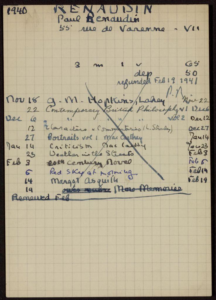 Paul Renaudin 1940 – 1941 card (large view)