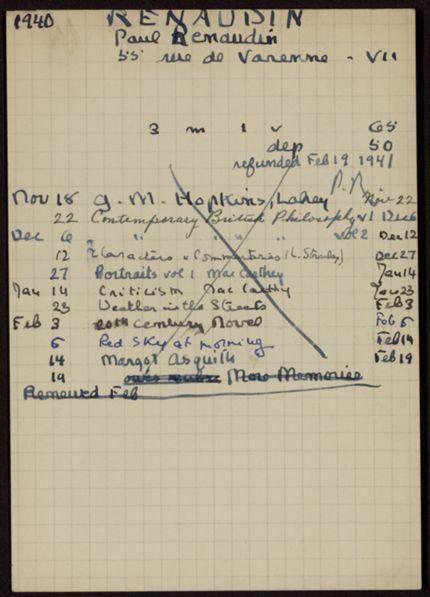Paul Renaudin 1940 – 1941 card