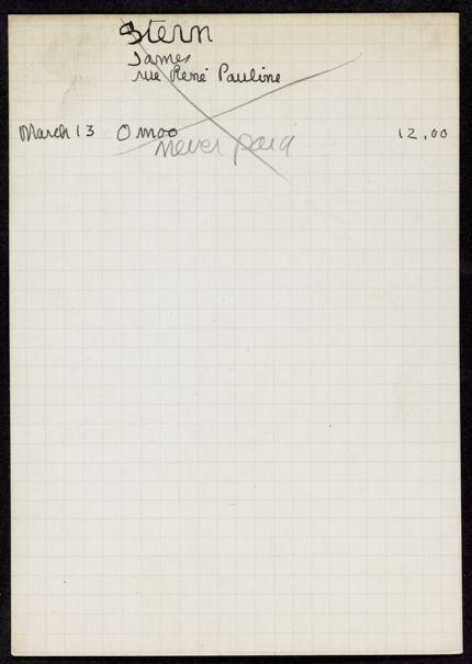 James Stern 1934 card
