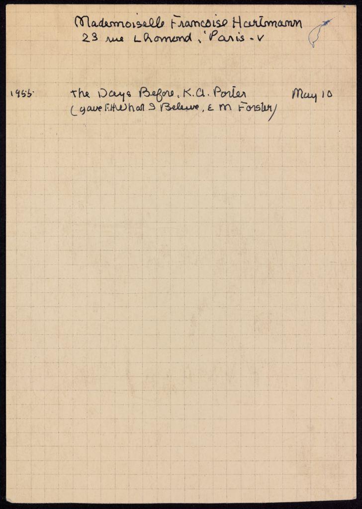 Françoise Hartmann 1955 card (large view)
