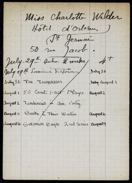 Thornton Wilder 1921 card