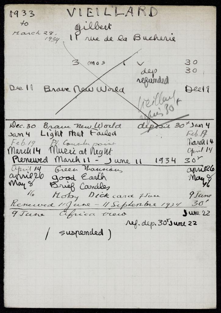 Gilbert Vieillard 1933 – 1934 card (large view)