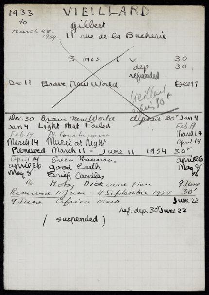 Gilbert Vieillard 1933 – 1934 card