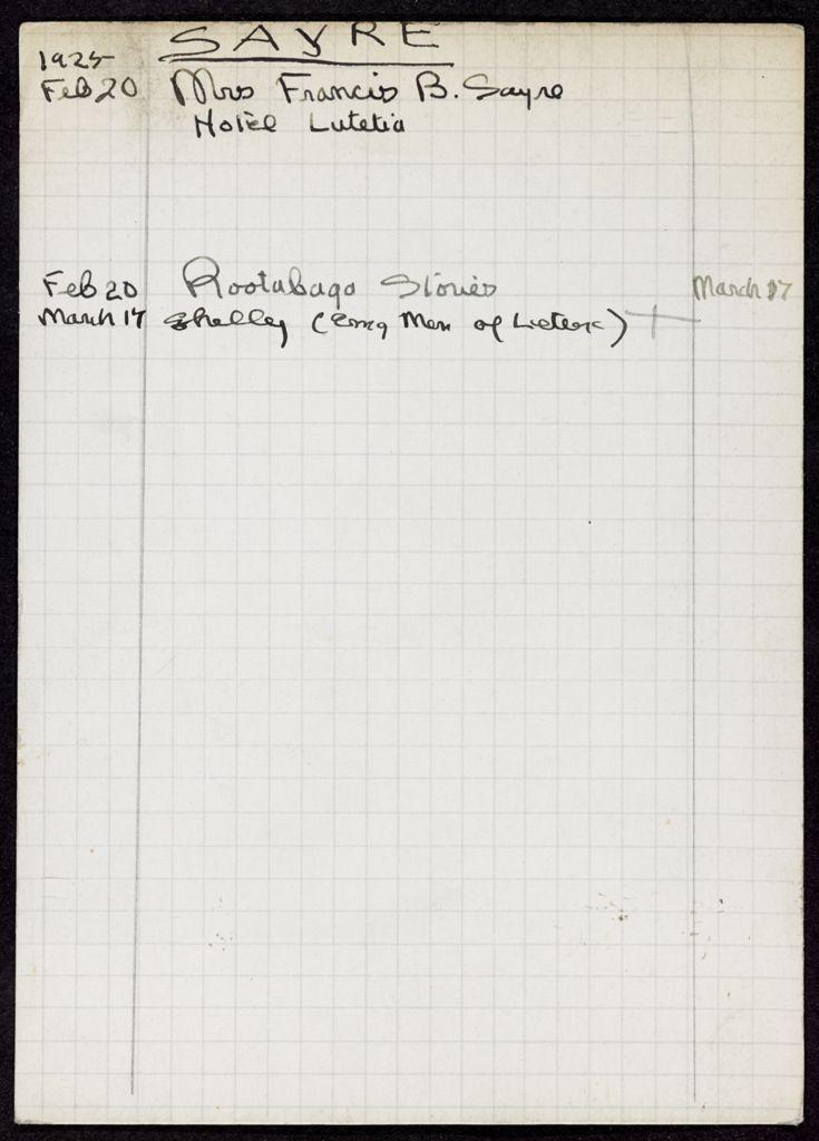 Jessie Woodrow Wilson Sayre 1925 card (large view)