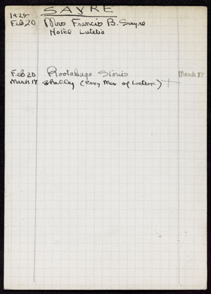 Jessie Woodrow Wilson Sayre 1925 card