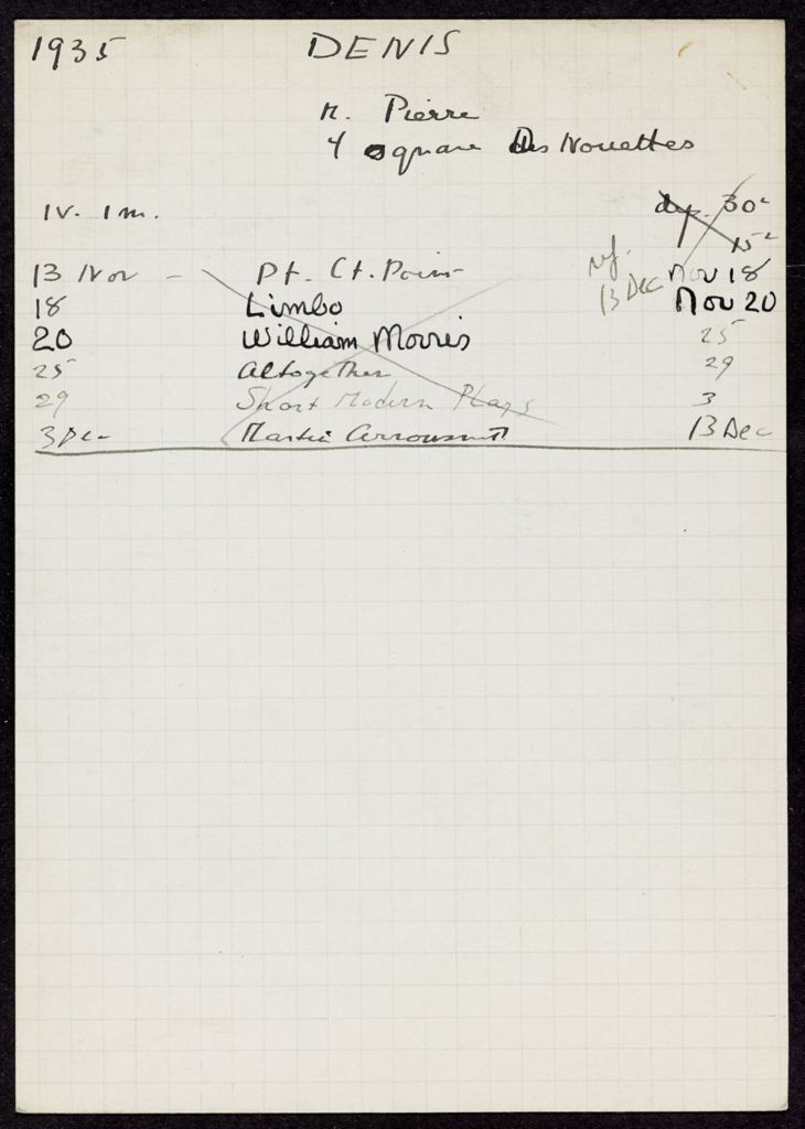 Pierre Denis 1935 card (large view)