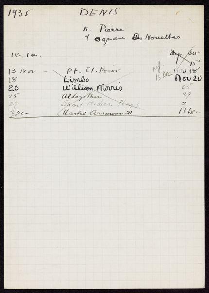 Pierre Denis 1935 card