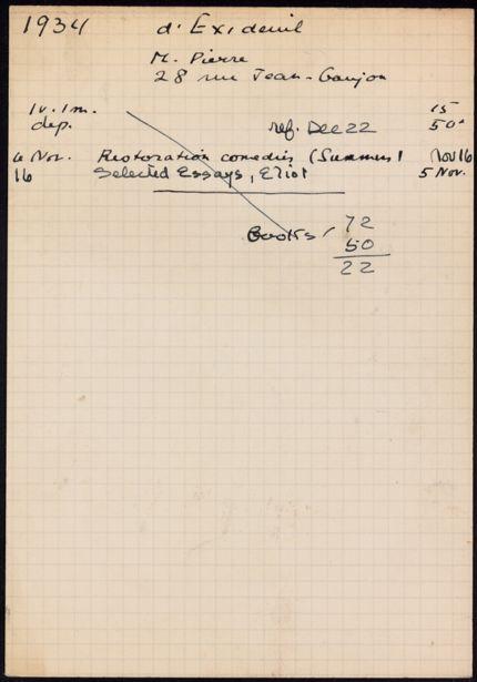 Pierre d'Exideuil 1934 card