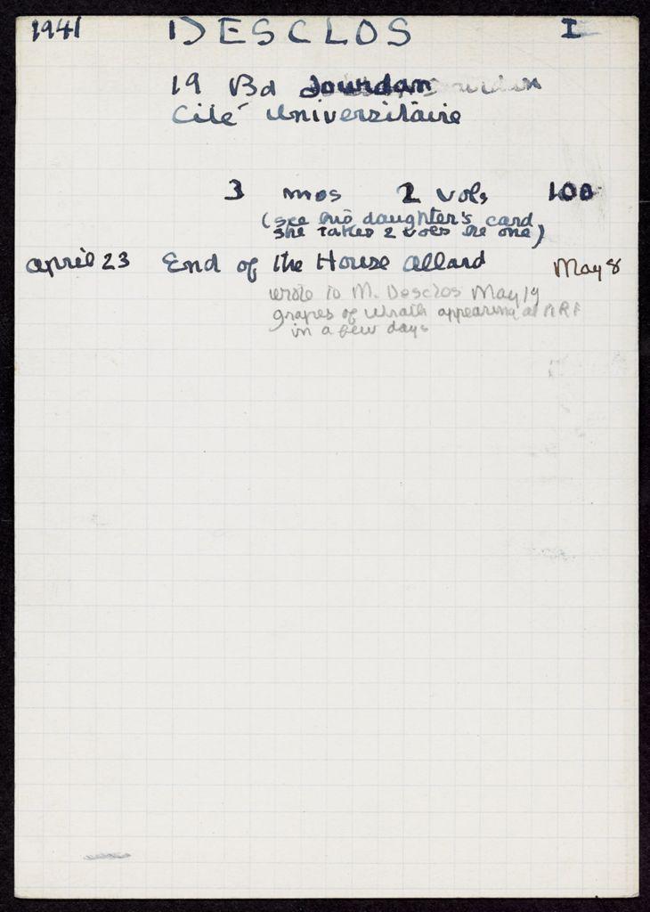 Auguste Desclos 1941 card (large view)