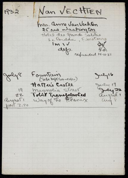 Ann van Vechten 1932 card