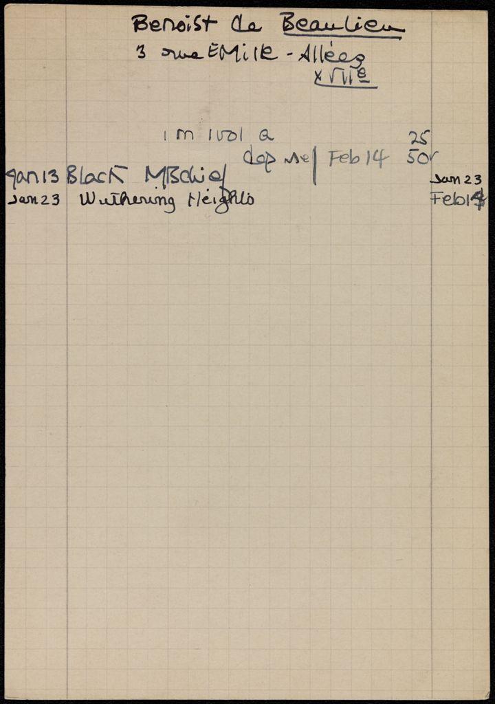 Étienne Benoist de Beaulieu 1939 card (large view)