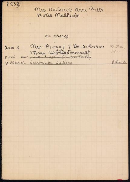 Katherine Anne Porter 1932 card