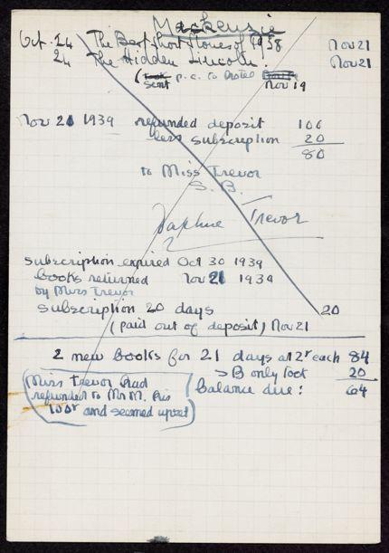 D. S. S. Mackenzie 1939 card