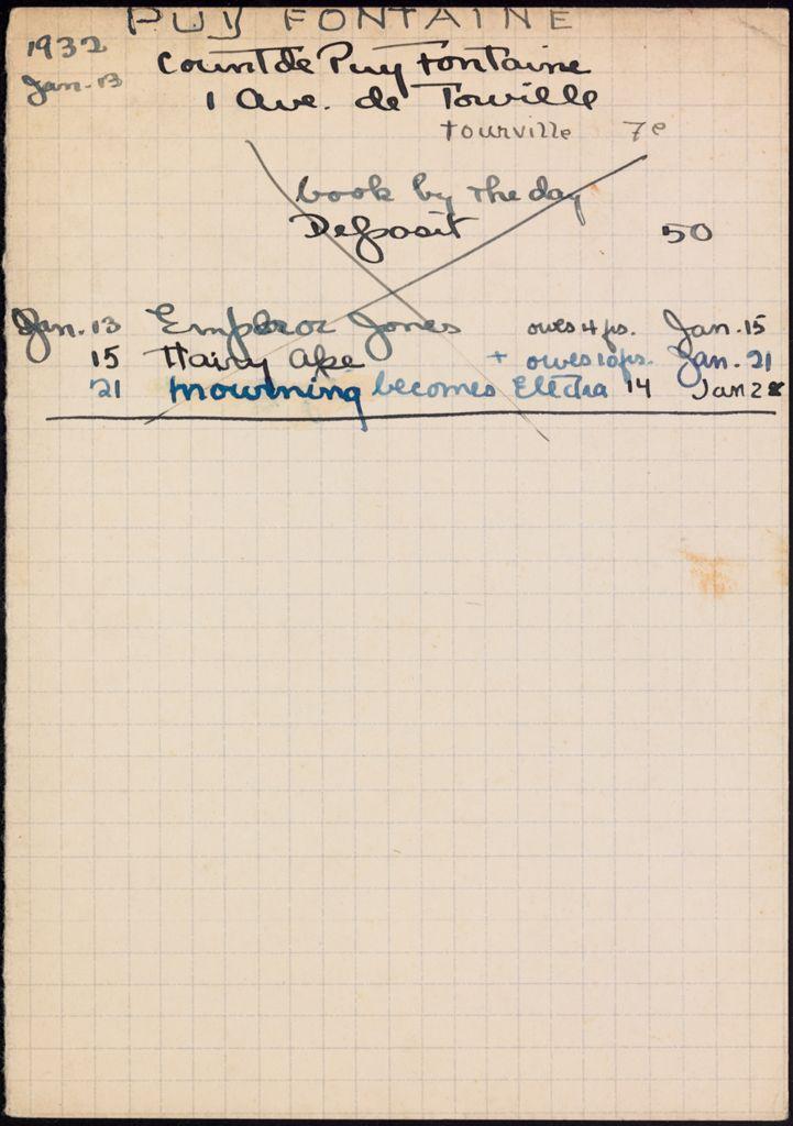 Comte de Puy Fontaine 1932 card (large view)