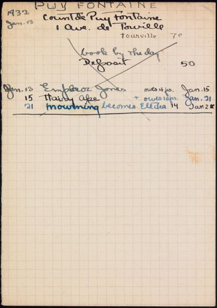 Comte de Puy Fontaine 1932 card
