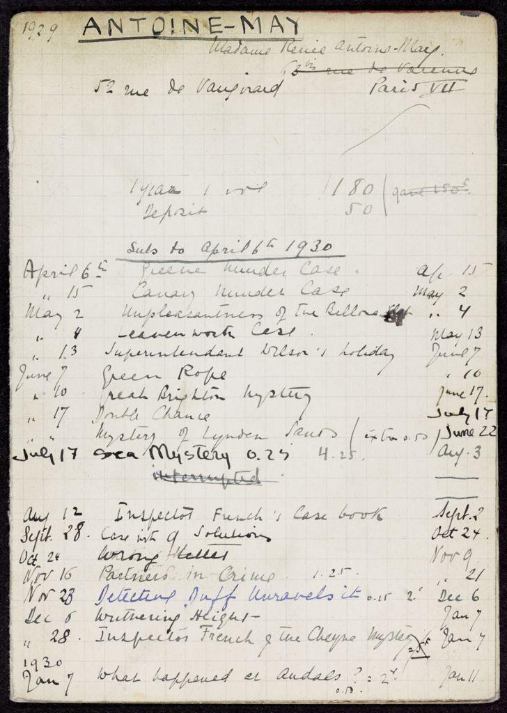 Renée Antoine-May 1929 – 1930 card (large view)