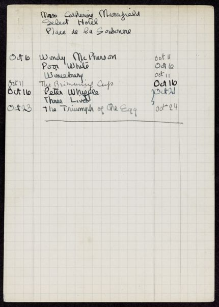 Katherine Mansfield 1922 card