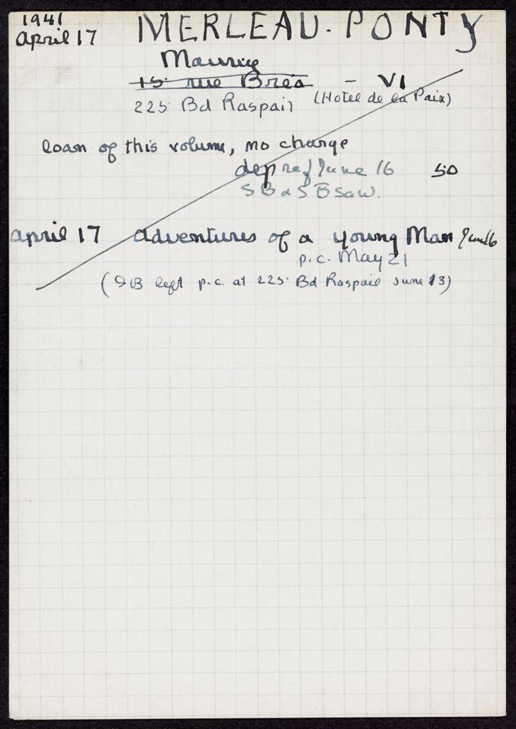Maurice Merleau-Ponty 1941 card (large view)