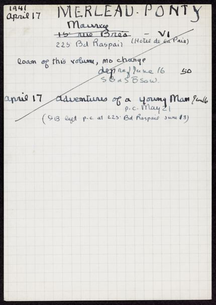 Maurice Merleau-Ponty 1941 card
